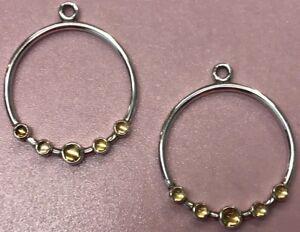 PANDORA | YELLOW CITRINE HOOP CIRCLE EARRINGS ✪NEW✪ 290625Ci RARE RETIRED 925ALE