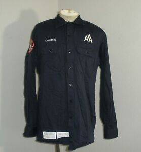 BULWARK FR AMERICAN AIRLINES Navy Blue Fire Flame Resistant Long Sleeve Shirt L