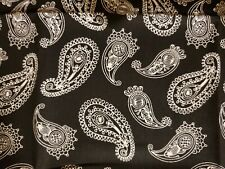 Paisley on black, Cotton Fabric Scraps, Crafts, Quilting, Sewing Projects