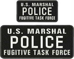 U.S. MARSHAL POLICE FUGITIVE TASK FORCE EMB PATCH 4.75X11&3X6HOOK/BACK/BLACK/WHI