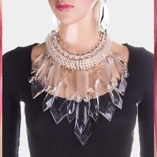 Lucite Statement Chunky Clear Choker Chain Gold Necklace Earrings BIB Spike Long