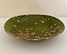 "Oval Blossom Cherry Japanese Ceramic green Bowl 8"" x  8 3/4"" Spring"