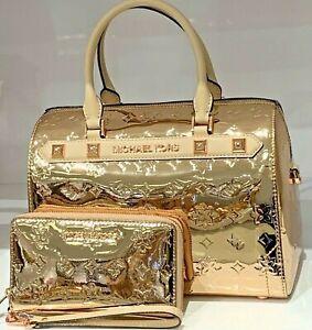 MICHAEL KORS KARA Large Duffle Satchel BAG & WALLET In PALE GOLD Patent Leather