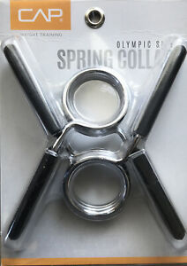 """CAP Olympic Size Spring Collar 2"""" Bar Weight Holder Clamp Powerlifting Brand New"""