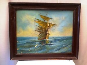 Antique Painting Sailing Ship In Rough Sea Boat Marine Seascape By S.B.Mistri *
