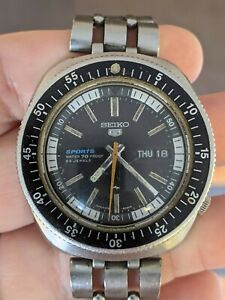Vintage '69 Seiko 5126-6030 Sports Rally Diver 70M JDM Watch, Proof, Orig Band