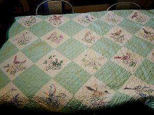 "Vintage State Bird Quilt 45"" x 68"" ~ 48 States pre 1959 ~ Green Hand Embroidered"