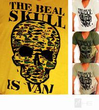 Totenkopf Kurzarm Herren-T-Shirts mit V-Ausschnitt