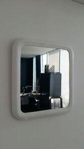White Plastic framed mirror with inbuilt hanger 36cm x 40cm