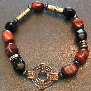 SILPADA B3327 Agate Brass Hematite Red Tiger Eye Fired Up Bracelet