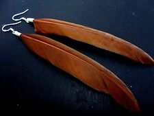 A PAIR OF LONG BROWN FEATHER  DANGLY EARRINGS WITH SOLID SILVER 925 HOOKS.