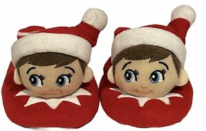 Toddlers Elf On The Shelf Red White Christmas Slippers House Shoes Size 5-6