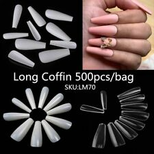 Long Coffin Shapes Artificial Press On Nails Full Cover Professional Fingernails