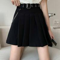 Japanese Ladies Pleated Skirt with Belt Mini Short Chain Gothic Punk Black Sweet