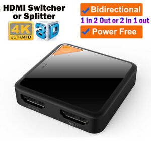 HDMI Switch 4K HDMI Splitter Bidirectional 1 in 2 Out or 2 in 1 Out HDMI