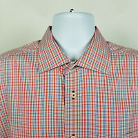 David Donahue Orange Blue Check Plaid Mens Dress Button Shirt Size XL