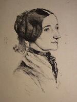 Jules de GONCOURT (1830-1870) EAU FORTE ORIGINALE PORTRAIT JEUNE FEMME MONNIER