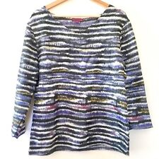 Adolfo Dominguez Spain Womens Stretch Crepe 3/4 Sleeve Top Blue Green Size Small