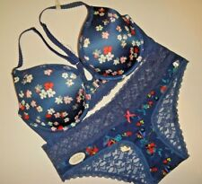 NWT aerie 36C racerback BRA SET M panty NAVY blue white red floral lace BROOKE