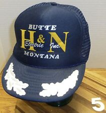 VINTAGE H & N ELECTRIC BUTTE MONTANA HAT WHITE LEAF DESIGN SNAPBACK ADJUSTABLE