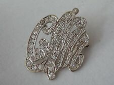 "Fine Estate 14k White Gold Diamond 3 Initial  Brooch Pin ""CNM""  Weight: 7.2grams"