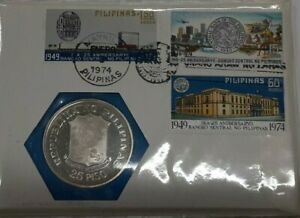 1974 Philippines BU 25 Piso 90% Silver Coin W/Stamps in First Day Cover