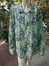 ORVIS Size 18 Wrinkle Resistant Casual Shirt White Green Blue Black Floral