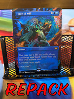 Force of Will Borderless FOIL NM REPACK Double Masters MTG ROUND 2