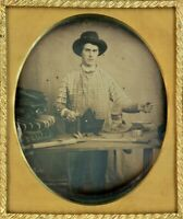 Bomb Sixth Plate Occupational Daguerreotype of a Cobbler