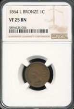 """1864 Bronze With """"L"""" Indian Cent NGC VF 25 BN *Better Date!*"""