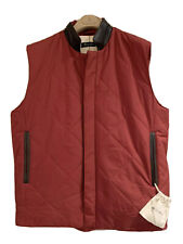 LORO PIANA Nylon / Genuine Leather Collar Quilted Red Horsey Vest Sz Large NEW