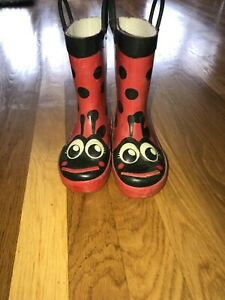 Toddler girl lady bug rain boots size 9