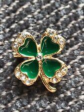 "shamrock Brooch pin clear rhinestones green enamel gold tone .75""X .75"" Gift #13"
