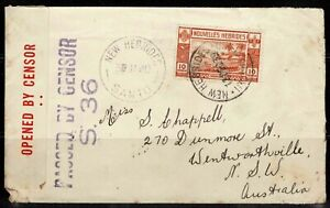 New Hebrides 1939 Censored WW2 Mail To Australia - Nice cd's & 10c Stamp - Used