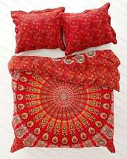 Indian Red Mandala Peacock Tapestry Throw Psychedelic Wall Hanging Decor Blanket