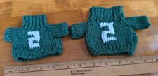 Lot of 2 Handmade Knit Green and White Beanie Stuffed Animal Sweaters #2
