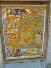 "Vintage 1940 Framed Map New Mexico Historical Trails Color Images 21"" x 27"""