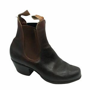 R M Williams Vintage Cuban Heel Boots Brown Tan Leather Size 6G US 6  EU 36