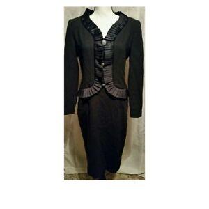 Vintage Carolina Herrera Black Wool Dress Satin Ruffle Trim Size 8