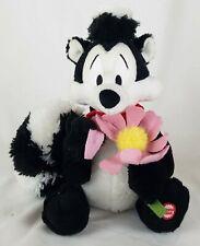 "Hallmark Pepe Lepew Talking Plush 11"" Skunk Rose Flower I Pick You Looney Tunes"