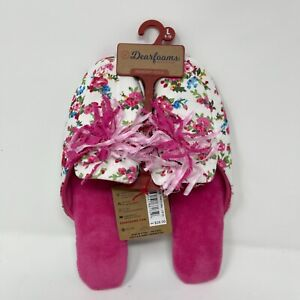 Dearfoams Womens Memory Foam Washable Floral Pink Tassel Slippers Size L 9-10