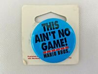 """Super Mario Brothers This Ain't No Game Pin Back Button Luigi 1 1/2"""" Round"""