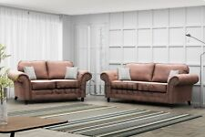 NEW Large 3 + 2 Seater Oakland Sofas Set Suite Brown Leather Italian Design