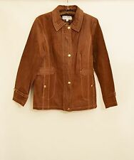 NWT BRADLEY BAYOU Genuine Leather Ginger Brown Womens Zipper Jacket Coat Size L