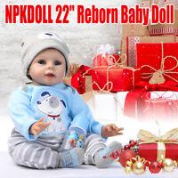 22 Zoll 55cm Lebensecht Handgefertigt reborn Baby Puppe Weich Silikon Vinyl