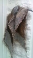 ladies brown soft fluffy scarf, long with fringe edge, two tone - autumn winter