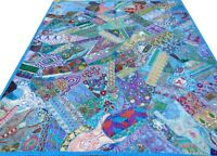 Quilt Blue King Patchwork Bed Cover Indian Handmade Turquoise Vintage Patches I