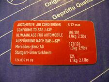 Genuine Mercedes air condition sticker R12 for W126, W124, W201