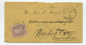 1860s #65 cover Gilroy CA forwarded to Nevada [6026.11]