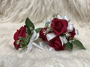 Red White  Corsage and boutonniere set Prom Wedding Formal Artificial
